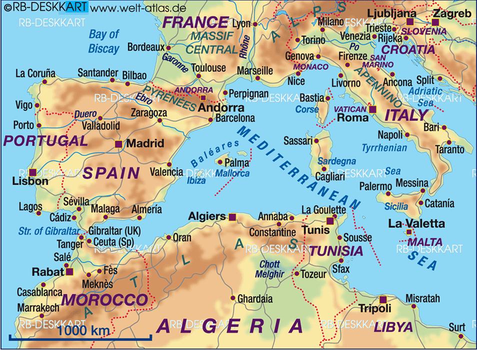 Die Geschichte Mallorcas - Karte westliches Mittelmeer