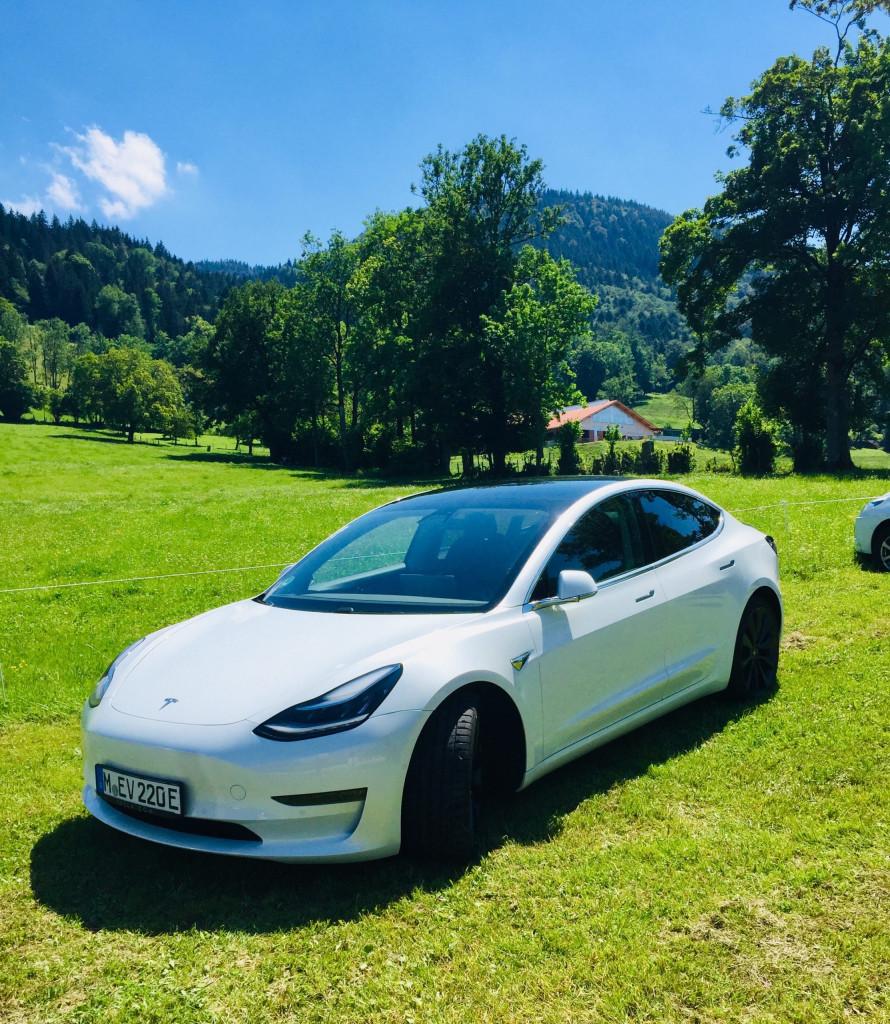 Achtung E-Auto auf der grünen Wiese