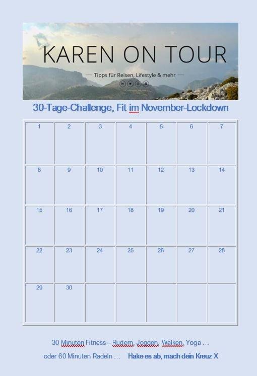 Meine 30-Tage-Challenge: Fit im November-Lockdown Kalender