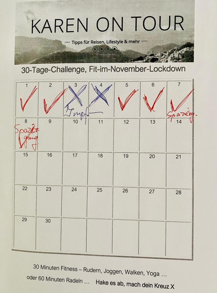 Woche 1 meiner 30-Tage-Challenge: Fit im November-Lockdown - nicht wunschgemäß