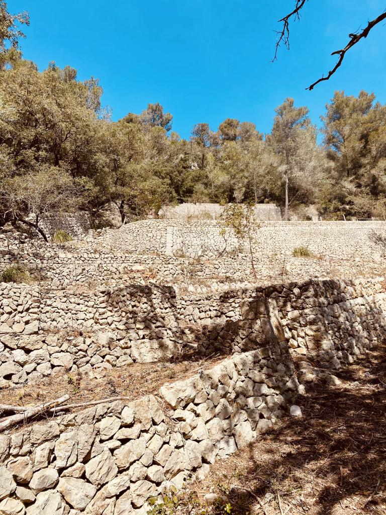 Mallorca und die Trockensteinbauten - terrassierter Hang zur Erweiterung der Anbaufläche