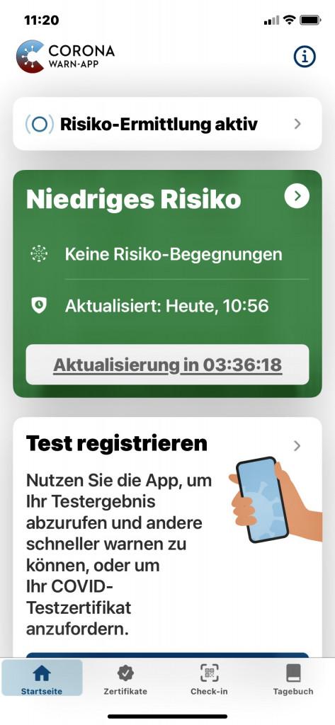 Endlich Impfung 2 intus - Corona-Warn-App Startseite