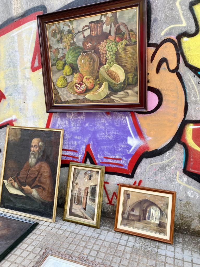 Mallorca Flohmarkt in Consell - alte Bilder vor Graffitti